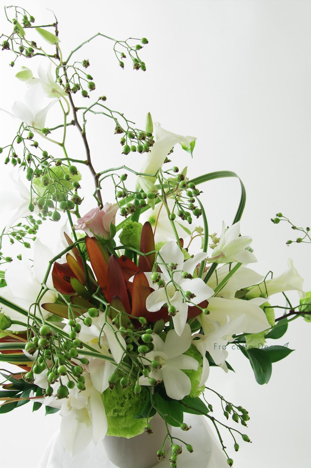 【市場見学・仕入実習NO3】生徒さん、花市場で仕入れた花材で作品を制作!