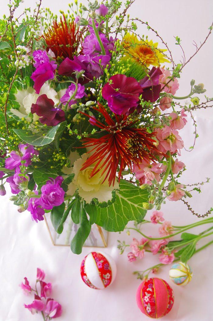 お正月花のブーケ